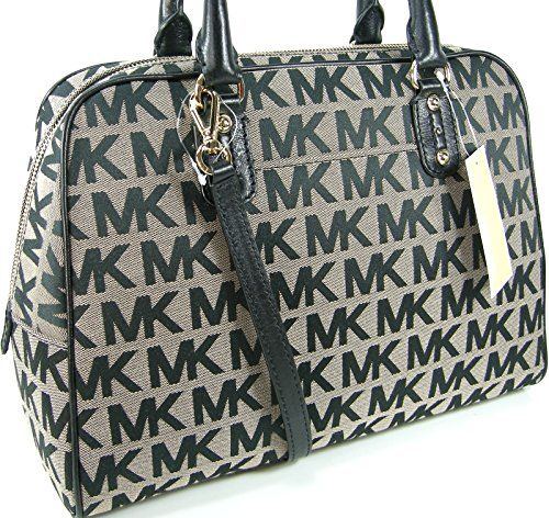 black and gray michael kors bag f759  Michael Kors MK Signature Logo Purse Large Satchel Black Beige Hand Bag  Michael Kors