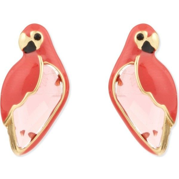 KATE SPADE NEW YORK Out of Office 12ct gold-plated parrot studs (€64) ❤ liked on Polyvore featuring jewelry, earrings, pinkmulti, stud earrings, kate spade earrings, gold plated jewelry, kate spade jewelry and gold plated jewellery