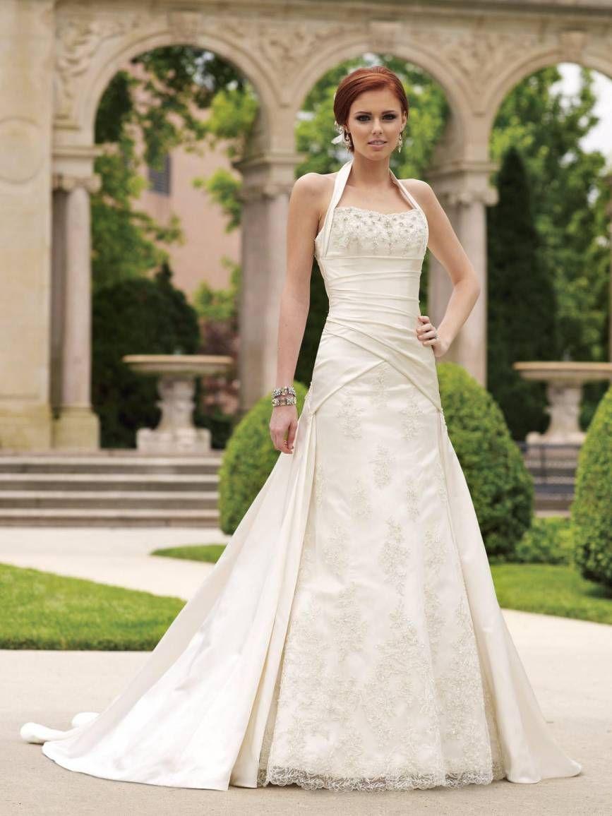 Ivory overlap halter neck dress satin with diamanté pattern on the ...