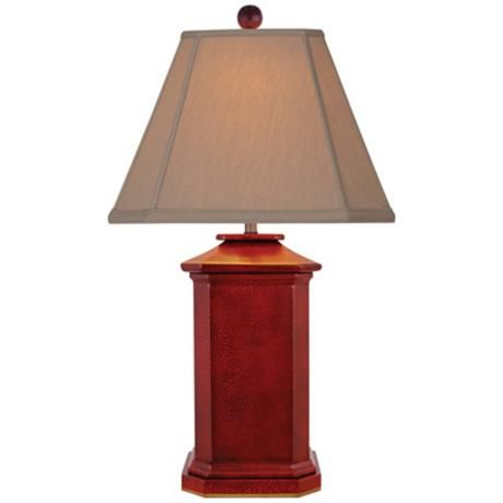 Lovely Red Lacquer Square Table Lamp
