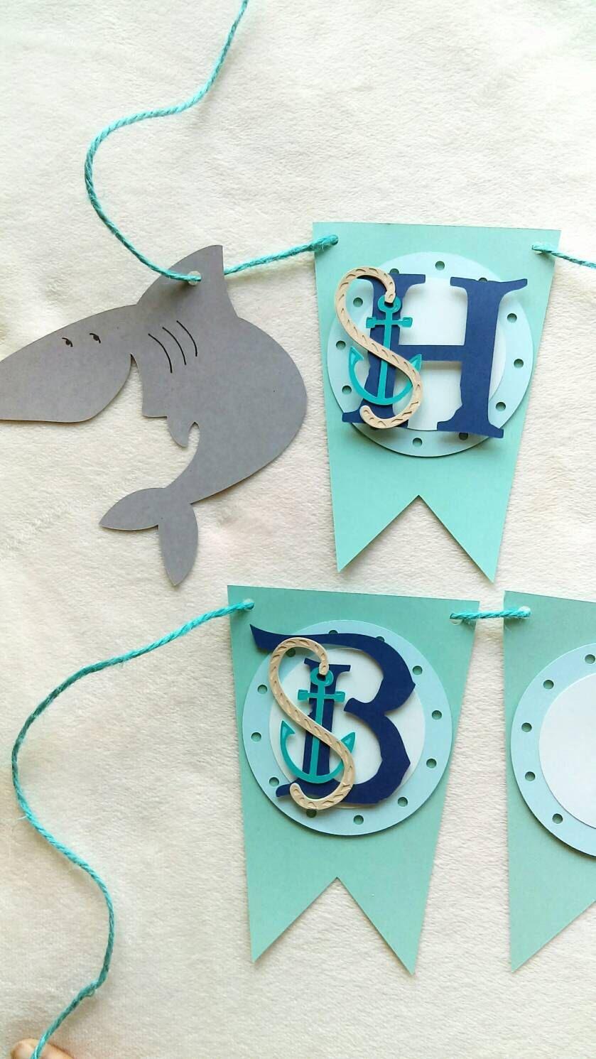 Shark birthday banner shark birthday decorations shark party decor