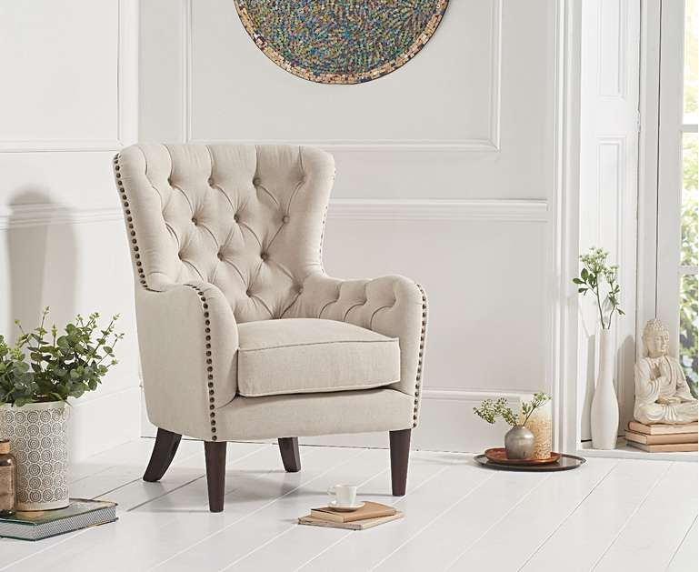 Barclay Cream Linen Accent Chair Accent Chairs Fabric Dining