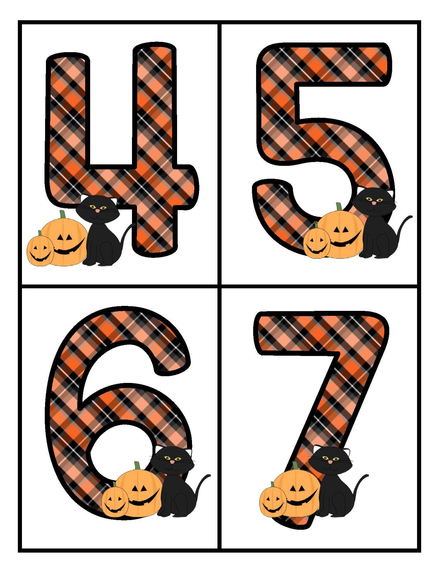 Halloween Theme Large Numbers 0 20