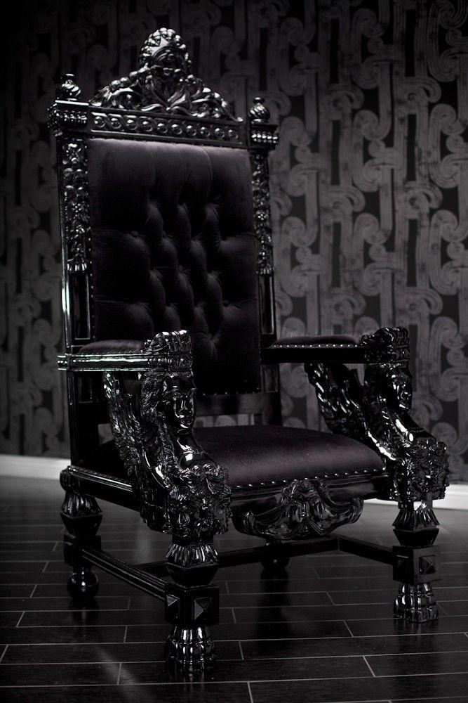 Black Lacquer Baroque Throne Chair Chairs Furniture