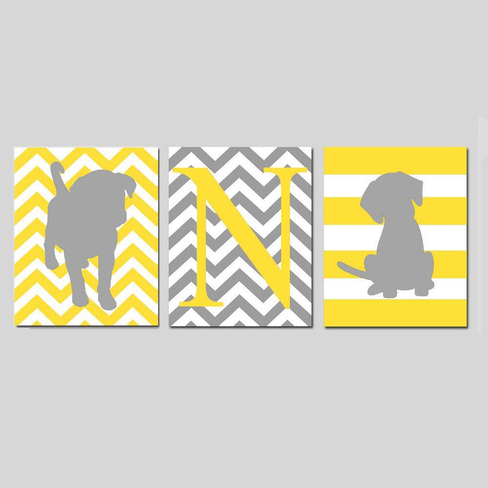 Puppy Nursery Art Trio - Dogs - Set of Three 8x10 Prints - Chevron ...