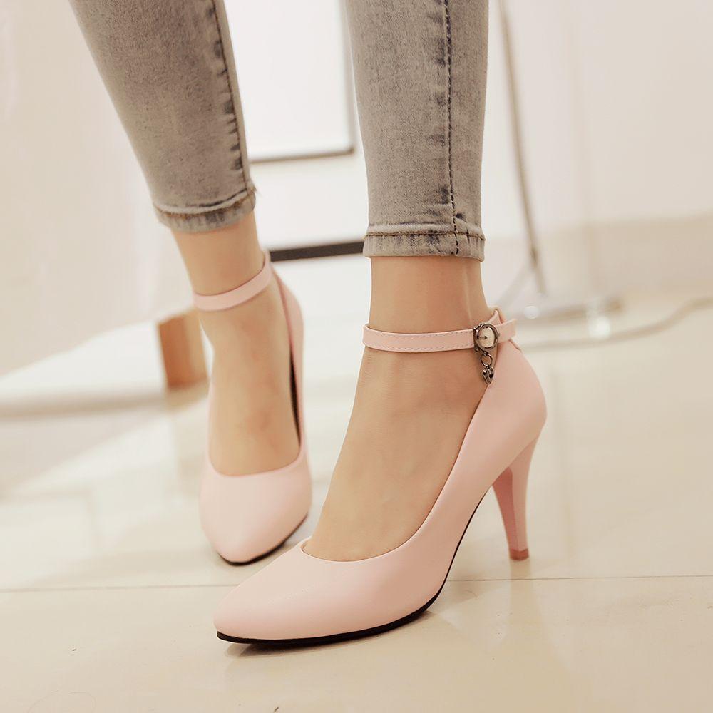 Zapatos de vestir de las bombas de la correa del tobillo de la punta del albaricoque de los tacones altos de las mujeres fsEWNu