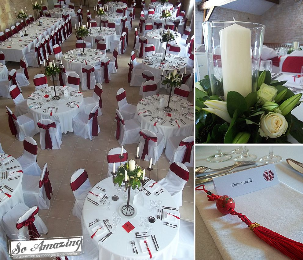 Des Decoration Habillage Des Chaises Blancs Ceinturage Rouge Set Up Table