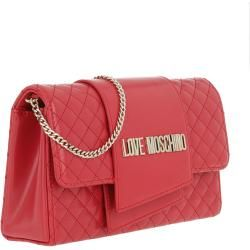 Love Moschino Logo Chain Crossbody Bag Rosso in red shoulder bag for women Moschino