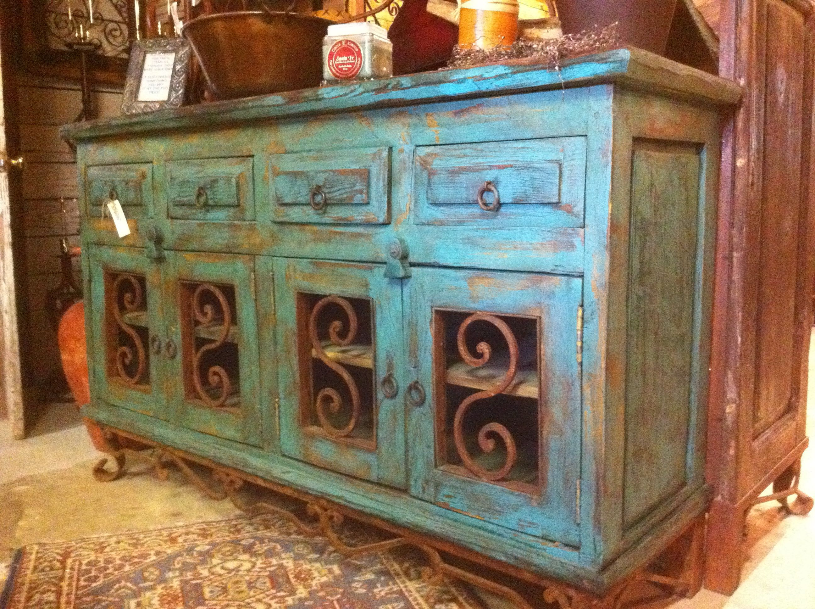 Best Love This Rustic Turquoise Side Board Furniture 640 x 480