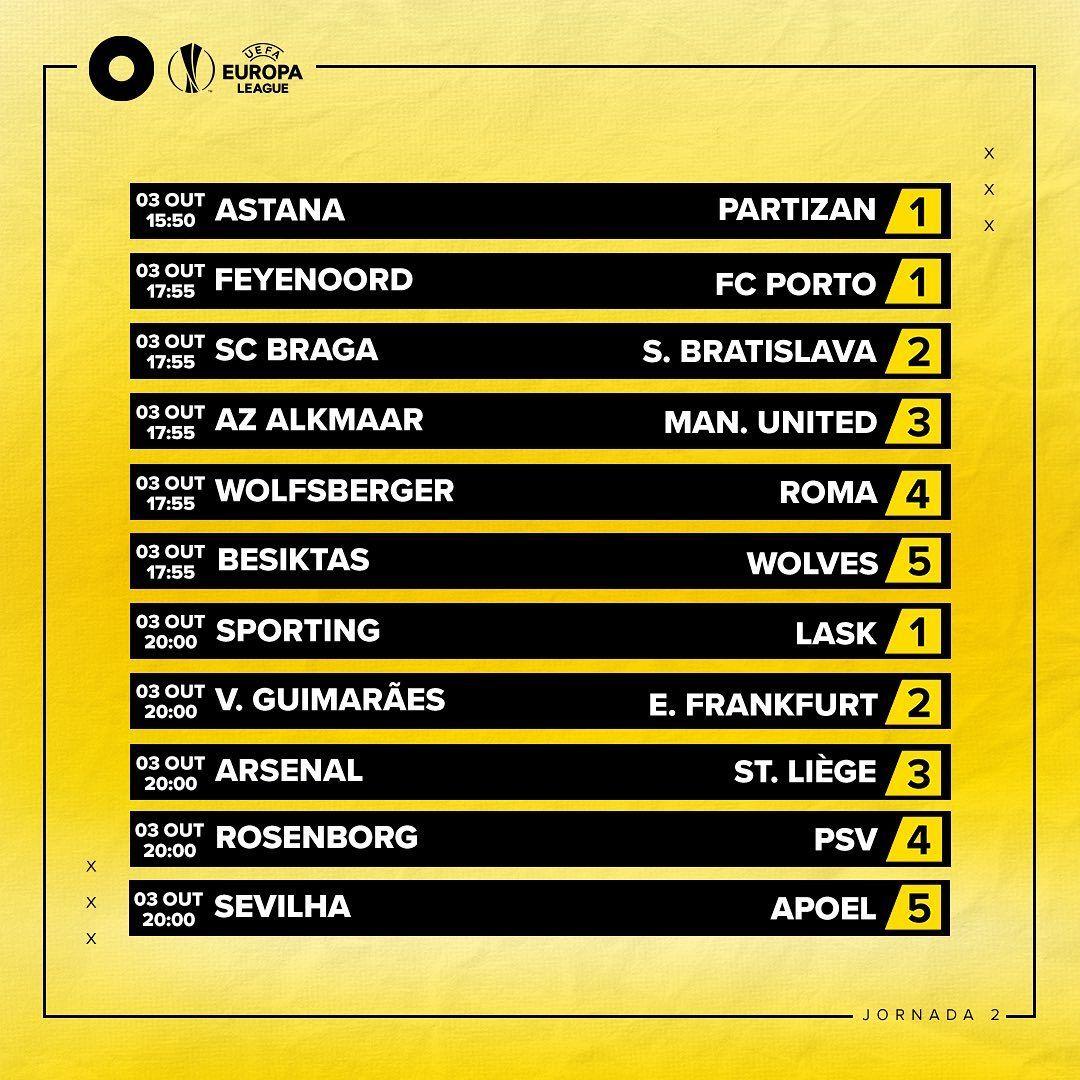 Na segunda jornada da Liga Europa, todos os olhos estão