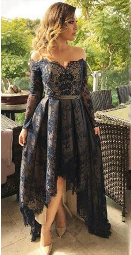 f65357b9f Vintage Lace Dark Navy Evening Dresses High Low | https://www.luulla ...
