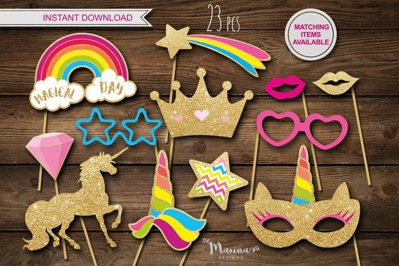 Unicorn party props, Unicorn photo booth props, Unicorn birthday decor, Unicorn inivitation, Unicorn labels tags stickers, Unicorn mask, diy