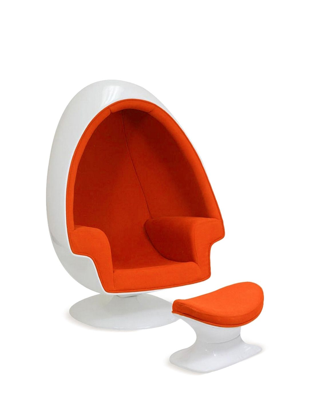 alpha shell egg chair and ottoman by pearl river modern  mid  - alpha shell egg chair and ottoman by pearl river modern
