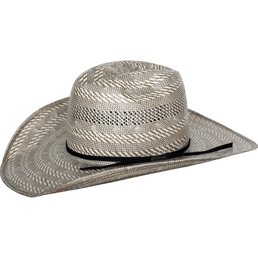Tuf Cooper by American Hat Company - Steel Gray and Ivory - Straw Hat - 4  1 4 Brim - Wide Square Front Brim - Black Corded Ribbon - Brick Crown -  Genuine ... 8546c89a406