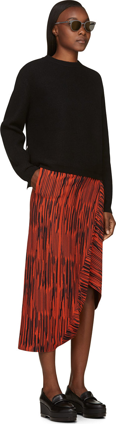 Stella McCartney Black & Orange Striped Asymmetrical Sarouel Trousers