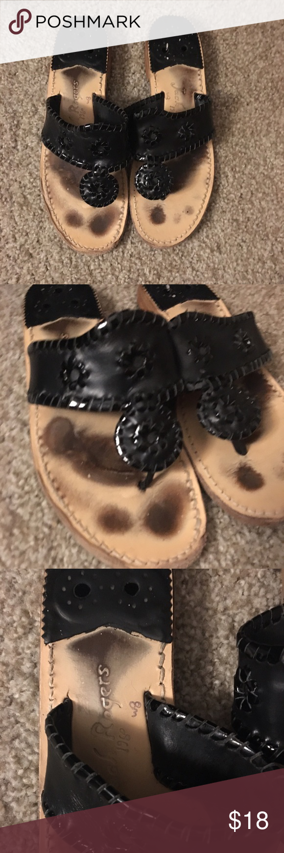 Gently Used Jack Rogers Black Hampton Sandal Gently Used Jack Rogers Black Hampton Sandal. Super cute. Obvious signs of wear on footbed. Soles and heels do show signs of wear (please see pictures). Jack Rogers Shoes Sandals