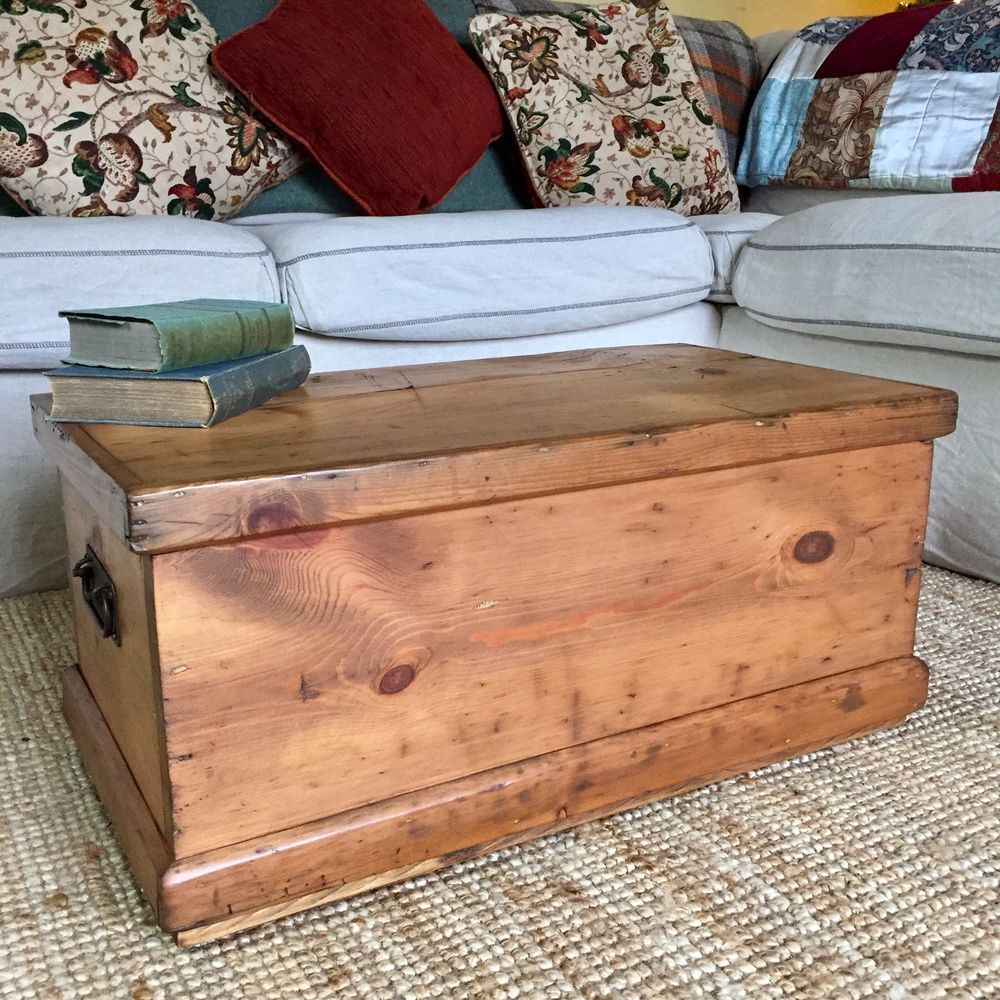Antique Pine Chest Wooden Blanket Trunk Coffee Table Old Tool Box