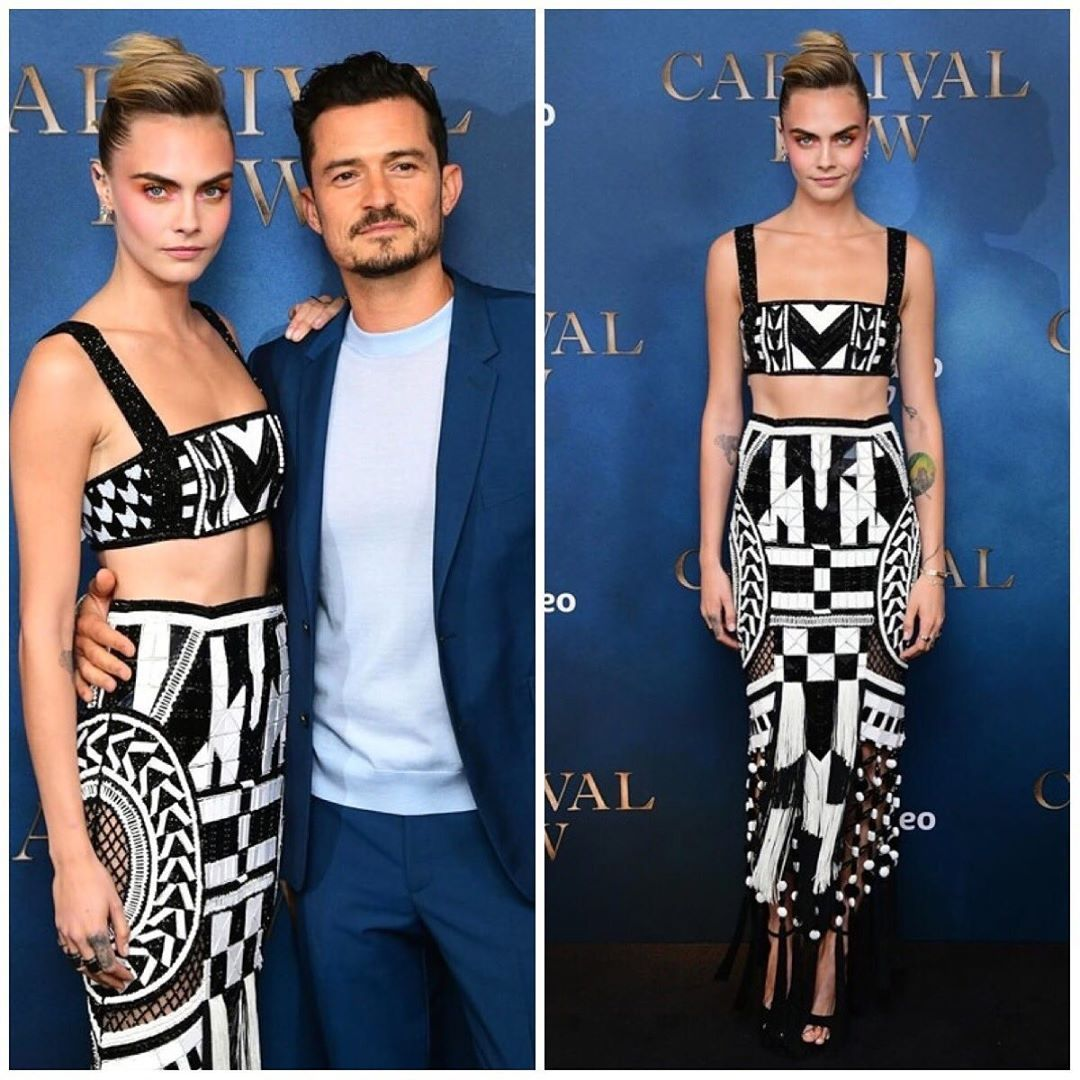 "Seguidor Fashion on Instagram: ""Cara Delevingne and Orlando Bloom at the Carnival Row London Premiere, in the Balmain week #caradelevingne #balmain #olivierrousteing…"""