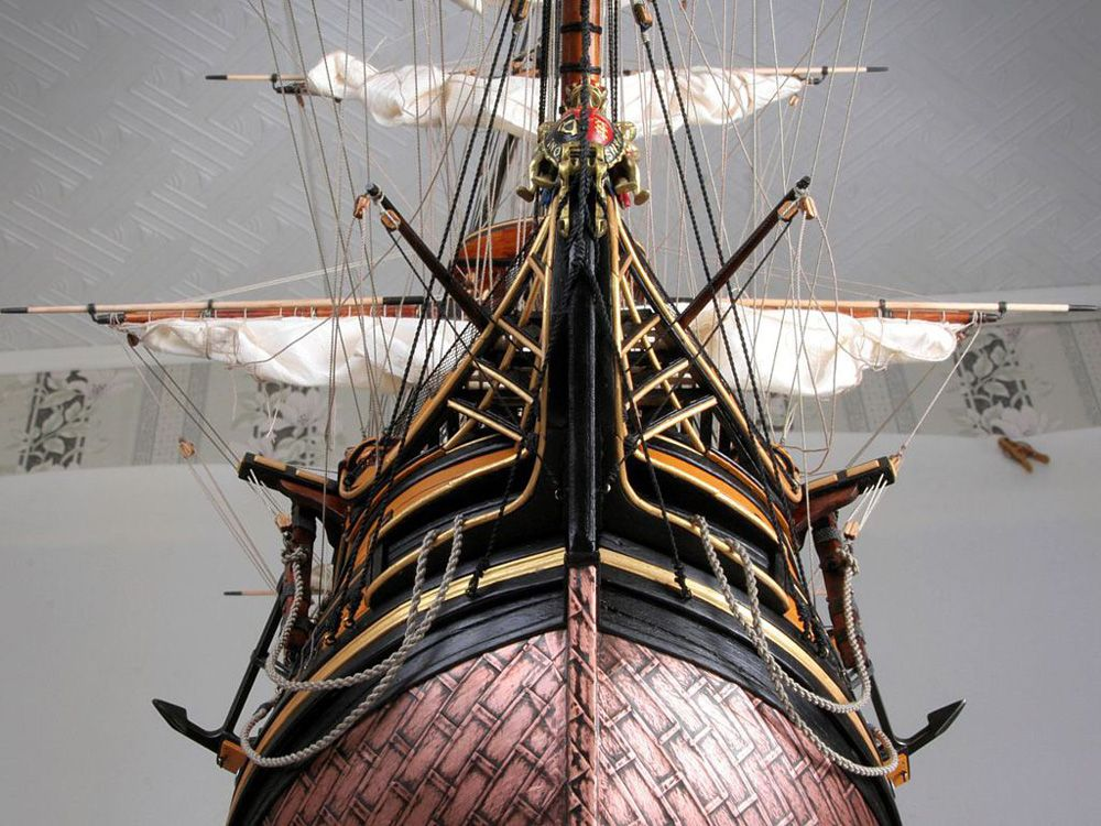 The ship model of HMS Victory in the scale of 1100 from