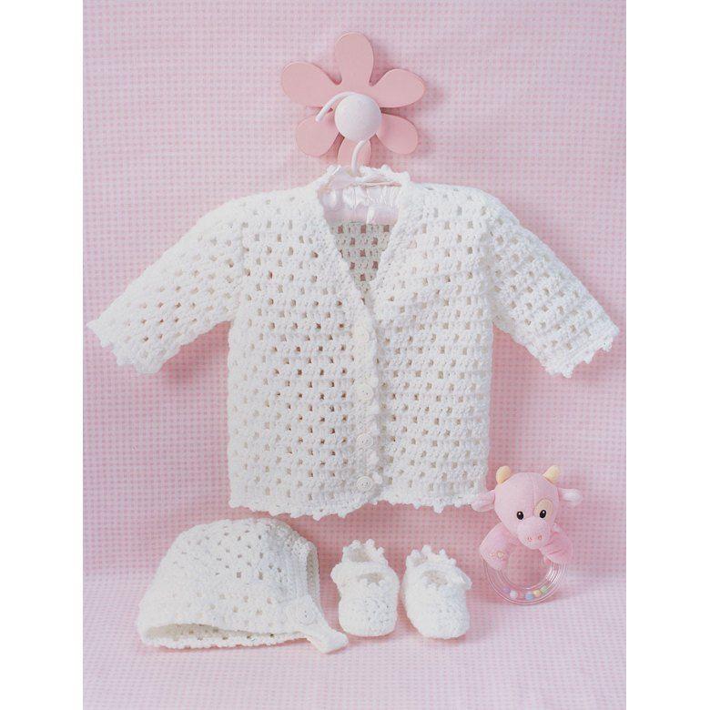 Lacy Set to Crochet in Bernat Softee Baby Solids Free | Haken baby ...