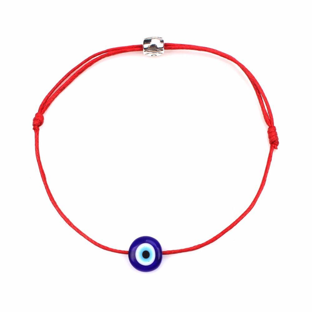 1 pz/lotto Semplice Moda Stringa Rossa e Blu Dell'occhio diabolico Braccialetto Good Luck Braccialetto Per Le Donne