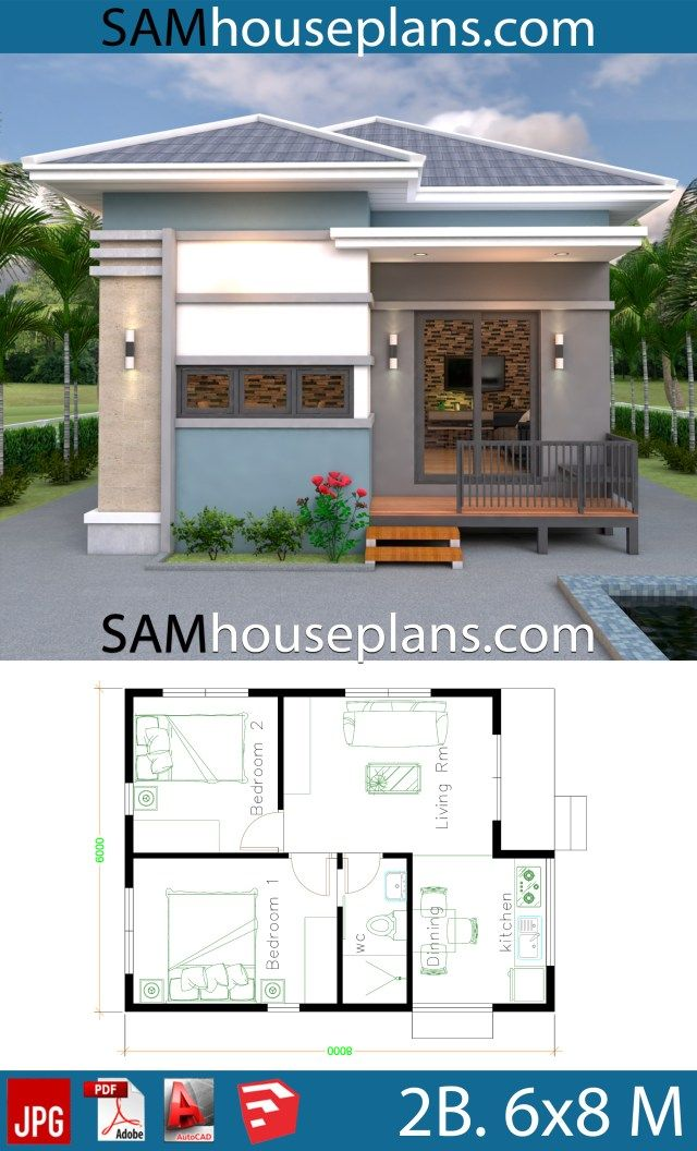 House Plans 6x8 With 2 Bedrooms Full Plans Sam House Plans Cottage Style House Plans Modern Small House Design Affordable House Plans