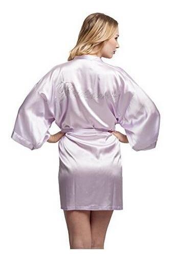 bb6345b9a4 Fashion Silk Bridesmaid Bride Robe Sexy Women Short Satin Wedding Kimono  Robes Sleepwear Nightgown Dress Woman Bathrobe Pajamas