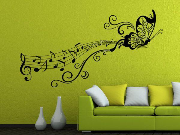 Wandtattoo Notenornament Mit Schmetterling Cool Wall Art Home