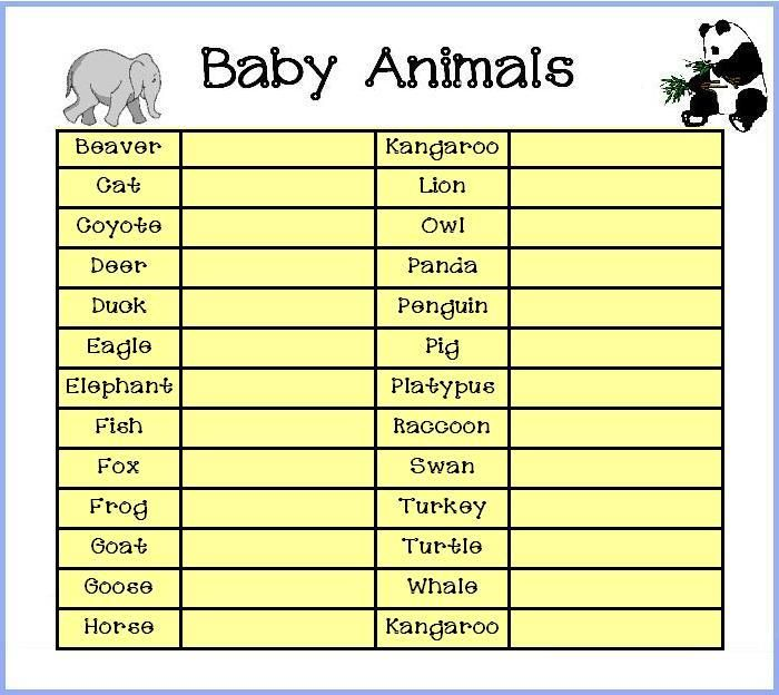 baby animal names baby animals baby names free baby shower games baby
