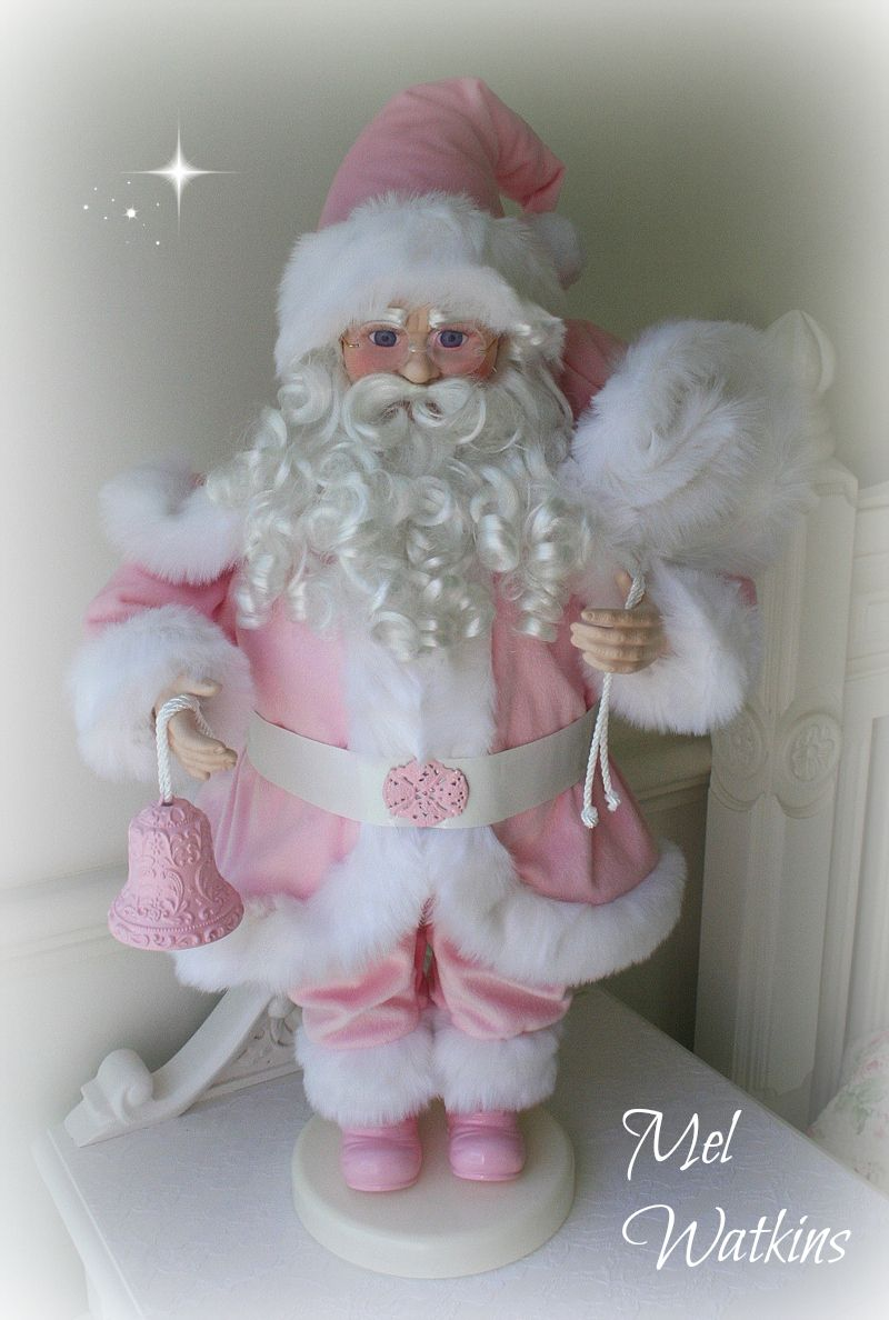 Beautiful Large Porcelain Santa Claus Made Over From Red To Pink