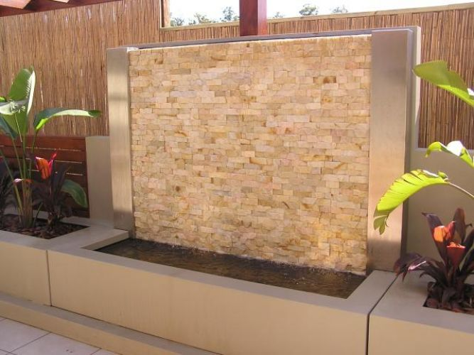 Stacked Stone Clad Water Feature Free Standing Paint Rendered