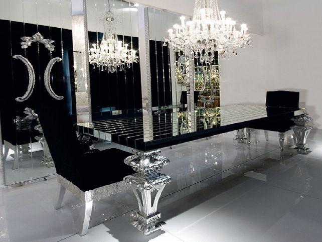 Black Mirrored Dining Room Table Jpg 642 482 Pixels Dining Room Table Set Dining Room Design Mirror Dining Room