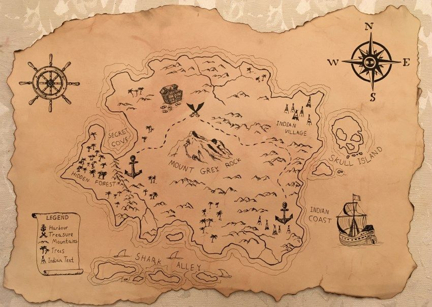 Drawing of a treasure map on antique paper Treasure maps
