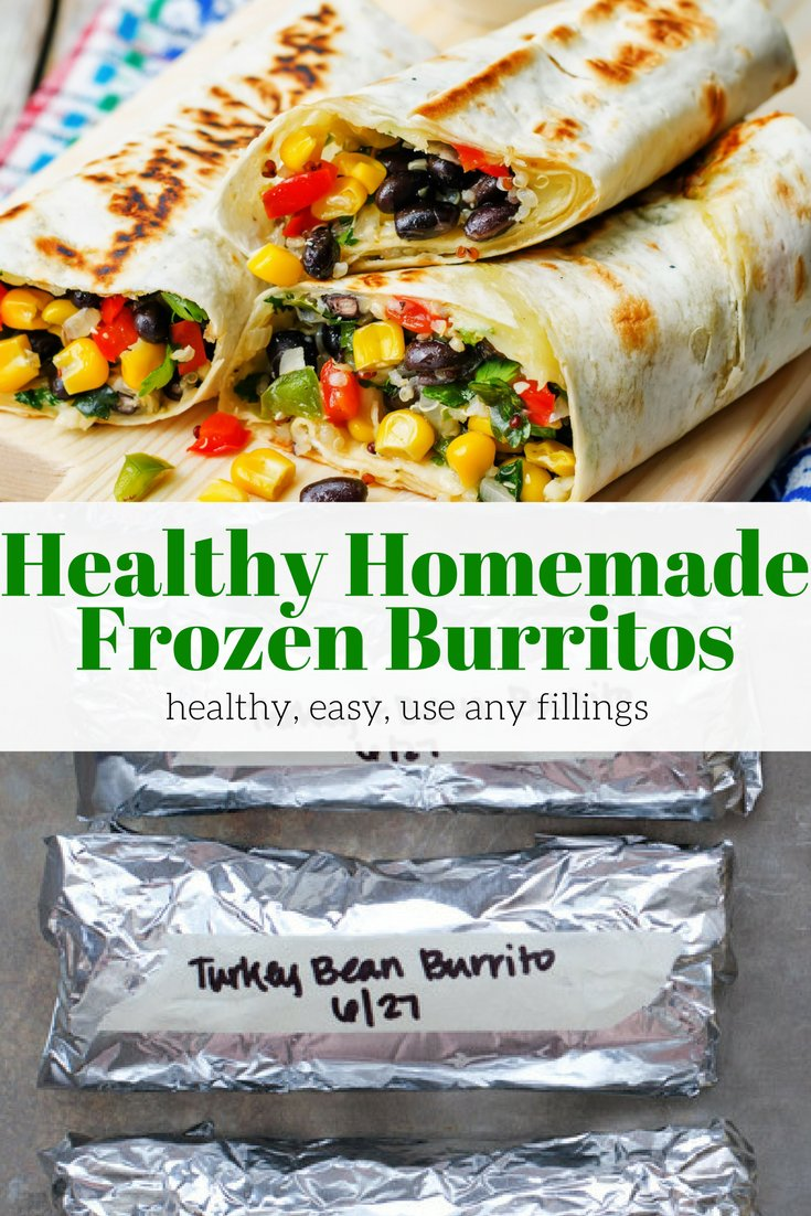 The best homemade frozen burritos! Fill them with all your favorite burrito fillings, pop them in the freezer, and microwave for a quick and easy meal in minutes. #dinner #lunch #freezerfriendly #kidfriendly #makeahead #quickandeasy