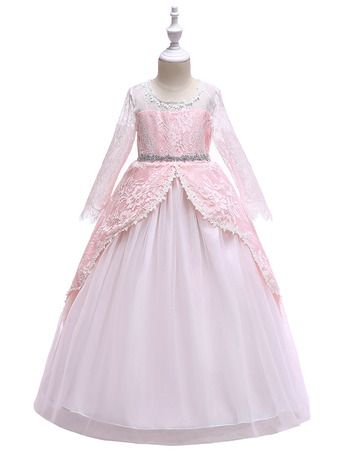Photo of Princess Ball Gown Lace Little Girls Party Dresses with Laye…