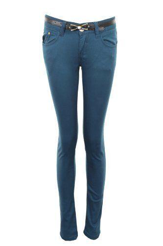 fdeba100712d Fantasia Boutique NEUF cintré femme skinny avec ceinture coloré JEANS  Femmes Jeans 6 8 10 12