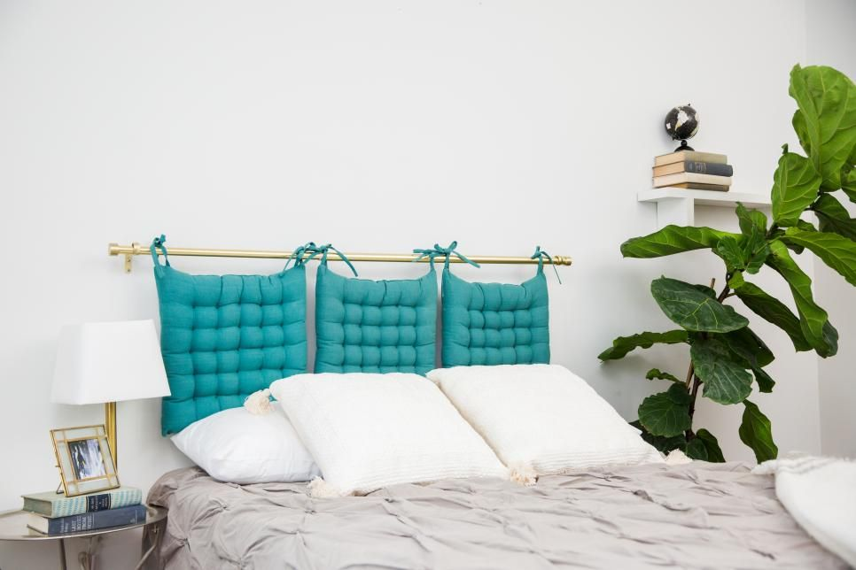 Like The Curtain Rod To Hold Something Up But Not The Chair Pads Headboard Alternative Dollar Store Hacks Diy Home Decor
