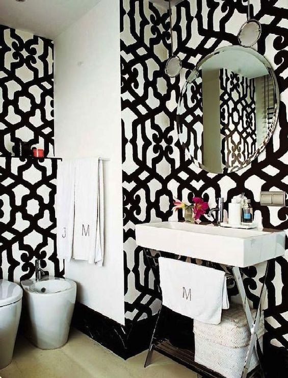 Bathrooms Trellis Wallpaper Black And White Wallpaper Dedar - Black and white wallpaper for bathrooms for bathroom decor ideas
