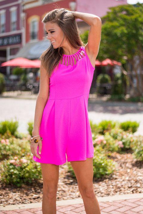 Strappy Days Romper, Hot Pink #strappy #hotpink #romper