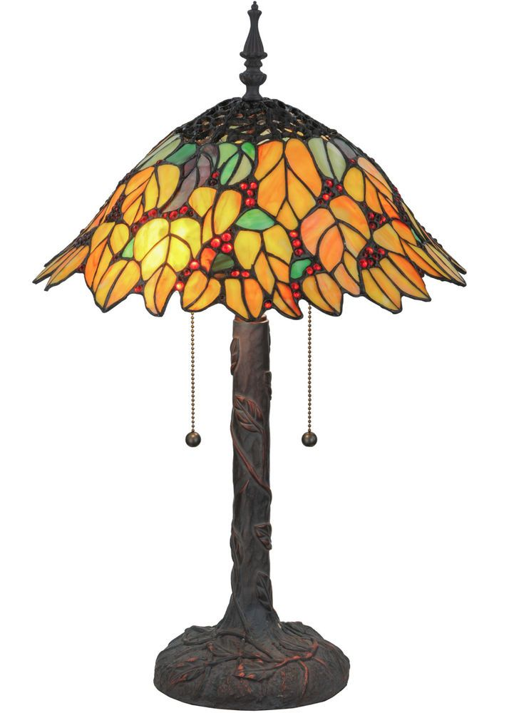 "Meyda Lighting 139603 Stained Glass Follaje Table Lamp 24.5"" Tall #Meyda"