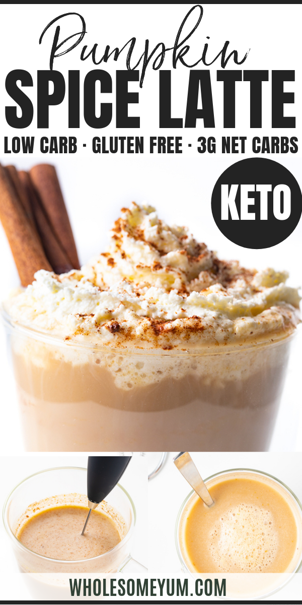 Healthy Keto Pumpkin Spice Latte Recipe #pumpkinspiceketocoffee Healthy Keto Pumpkin Spice Latte Recipe - My secret trick for how to make a healthy pumpkin spice latte at home, in just 5 minutes! This healthy KETO pumpkin spice latte recipe tastes like one from a coffee shop, without the sugar. You'll never guess this is a low carb sugar-free pumpkin spice latte. #wholesomeyum #lowcarb #keto #pumpkinspice #latte #breakfast #healthyrecipes #lowcarbrecipes #ketorecipes #pumpkinspiceketocoffee