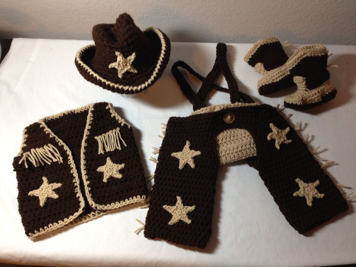 Crochet baby cowgirl outfit NB through 12 by CrochetbyDestinee ...