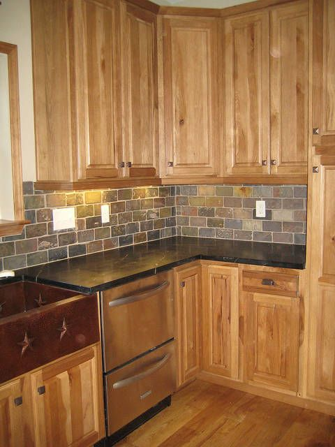 White Concrete Countertops Oak Cabinets