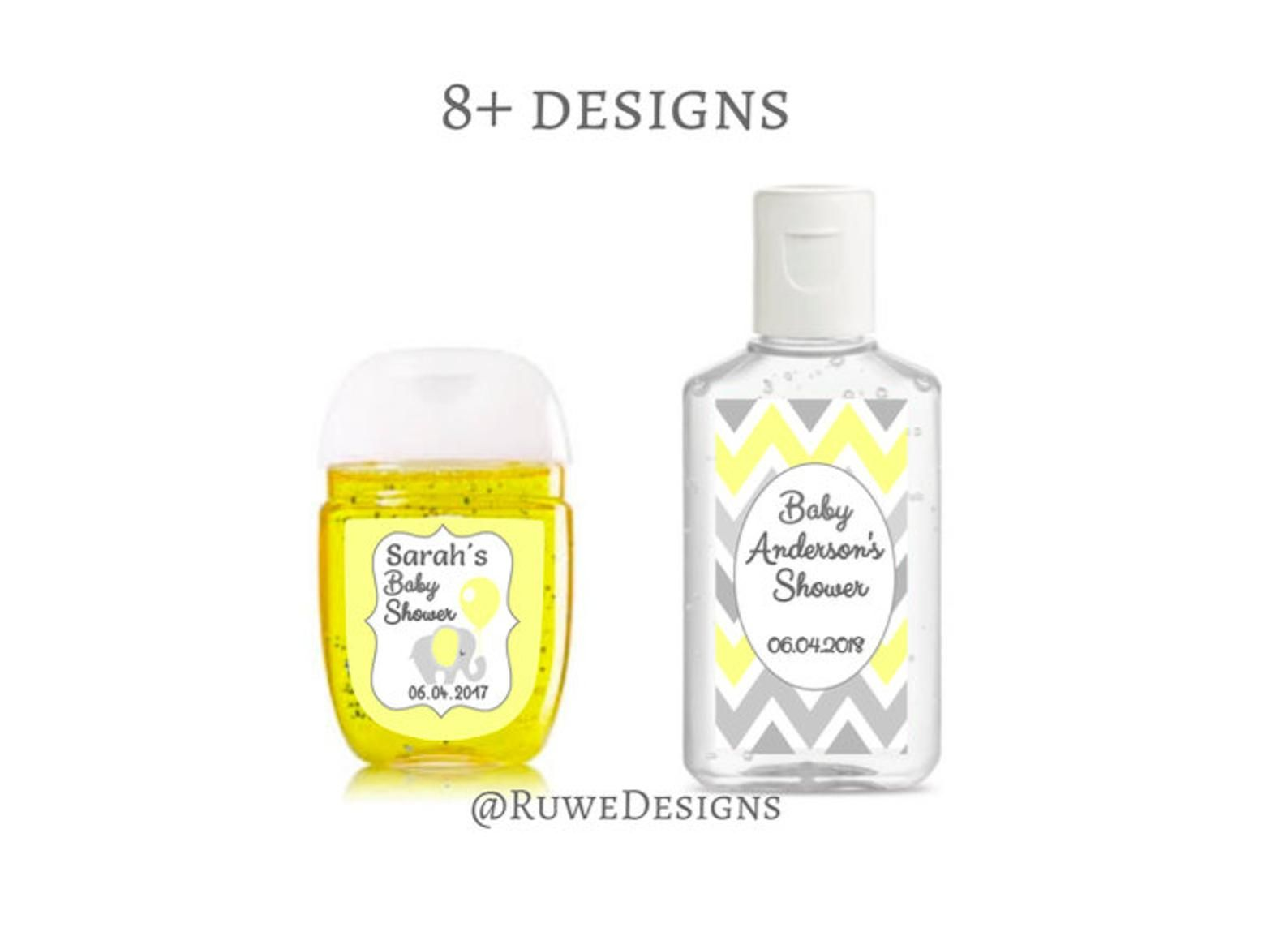 Yellow Gray White Customized Hand Sanitizer Labels For Baby
