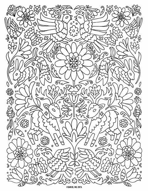 Woodland coloring page | bordado Tenango | Pinterest
