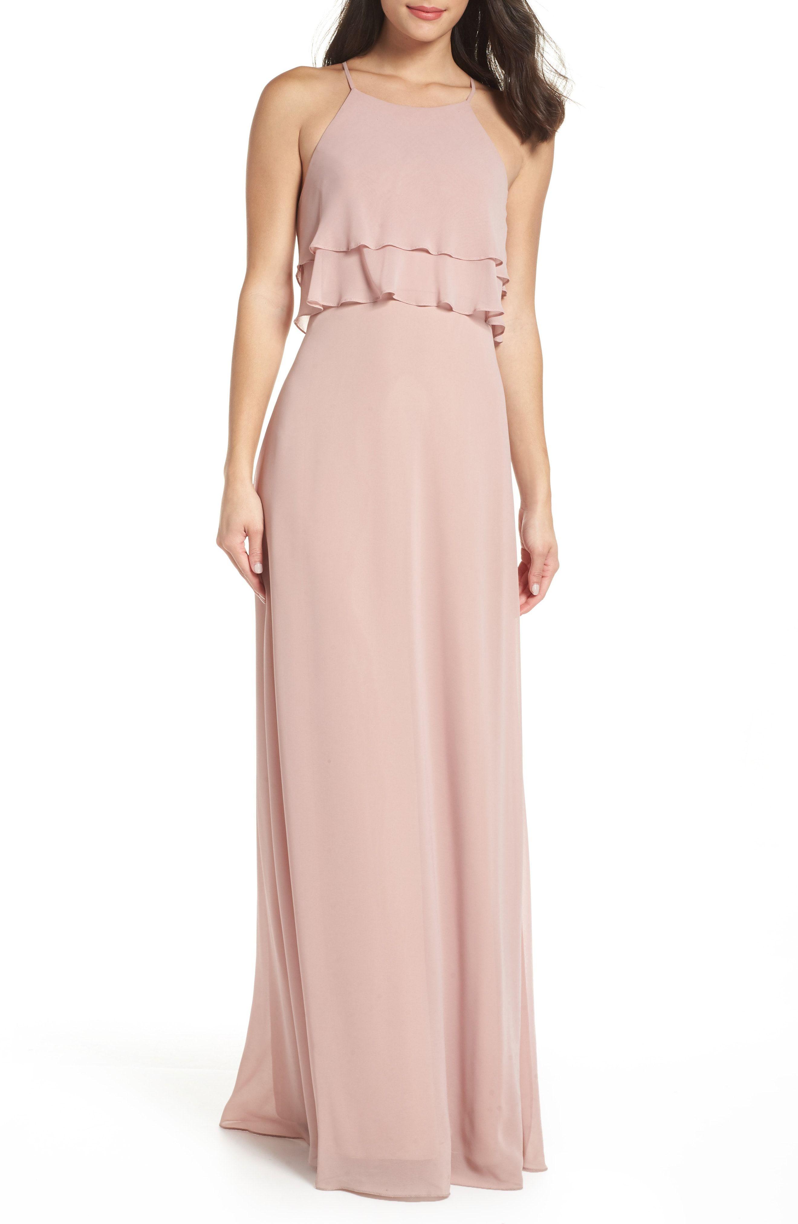 Ruffled blush bridesmaid dress by jenny yoo blushwedding