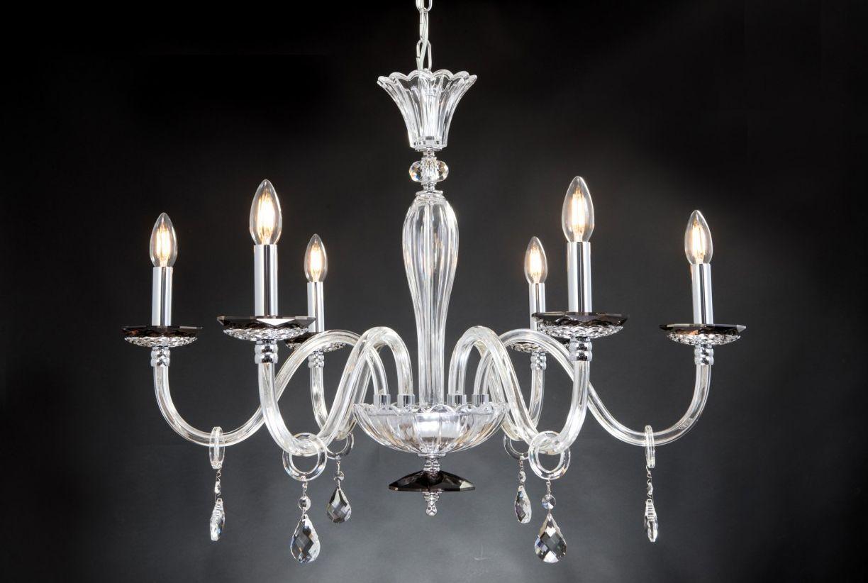 Lampadario Moderno In Cristallo 6 Luci Design Swarovsky Naxos Fume Lampadari Moderni Lampadari Cristallo Lampadario