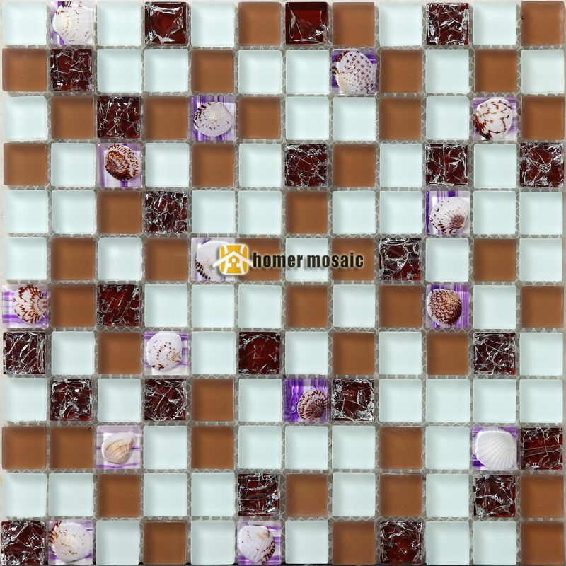 Brown Crystal Glass Mixed Sea Shell Mosaic Tiles EHGM1053C For Kitchen  Backsplash Bathroom Shower Dining Room