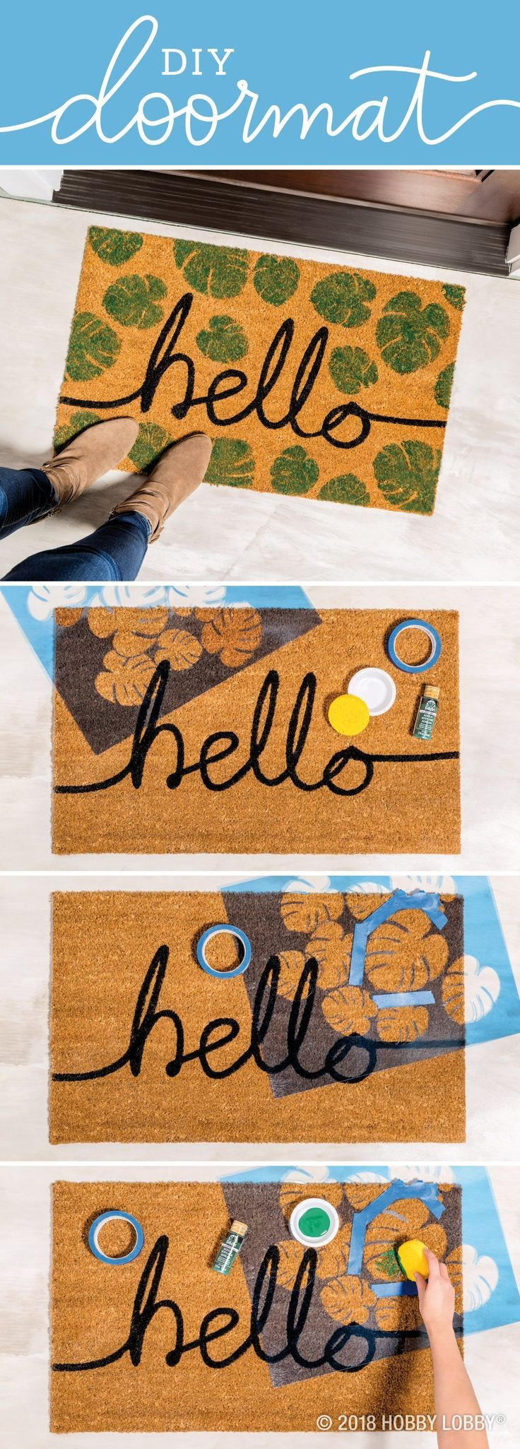 Give Your Guests A Tropical And Trendy Welcome With This Easy Diy Doormat 1 Position And Tape Stencil In Place 2 Sp Hobby Lobby Crafts Stencil Diy Door Mat