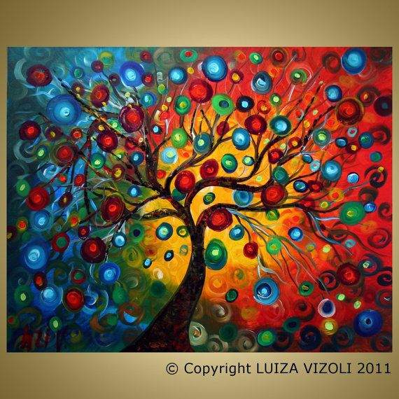 SEASONS Tree Large Painting SERENADE Modern Abstract Fantasy Landscape Made to Order #landscapephoto